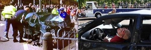 Twee foto's die op verschillende neiwues-sites en internet blogs circuleren. De foto rechts laat de waarschijnlijk al buiten bewustzijn zijnde Karst T. zien