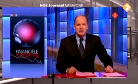 """NOS journaal scherm zoals gepubliceerd in de NRC van 15 oktober 2008 bij een artikel met de kop: """"Media verergeren de financiële crisis door het gebruik van oorlogstermen"""""""
