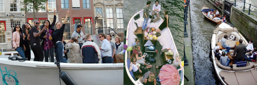 Some sample pictures taken by tourists visiting Amsterdam of local part-boats of the better situated classes parading during summer through the canals of Amsterdam. Beer and wine coolers, sound systems and comfortable deck seats characterize these boats. It is a phenomenon that only developed in the last two decades with the new rich enjoying the parade of their success.