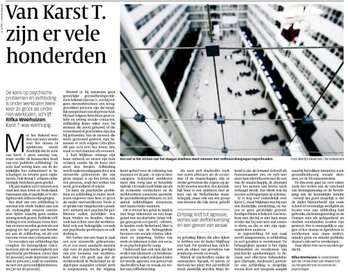 Small picture of article by Rifka Weehuizen in De Volkskrant 6 of April 2009