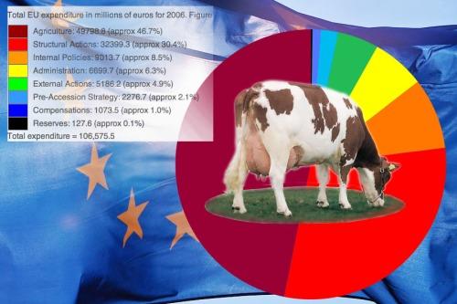Bijna de helft van de Europese begroting betreft landbouw' bron 2006  Wiki Europese Commissie Begroting.