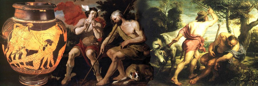 Depictions of the the story of Argus, a giant with eyes all over his body (the yees are depicted in Greek pottery but mostly not anymore in later European renderings in paintings). Argus is to watch over a lady desired by Zeus that (in one oif the versions of the story) has been changed into a cow by the jealous wife of Zeus Hera. Mercurius the messenger god, also known for his invention of the lute and beging the patron of theives, is send in by Zeus to get rid of Argus. Mercurius starts to play his flute (in other versions his lute) with endless repeating themes and thus lures to sleep Argus (in some versions Mercurrius beats popey seeds [opium] over the head of Argus). It ends with Mercurius cutting off Argus his head and Zeus having his pleasure with the disguised, metamorphosed beauty Io.