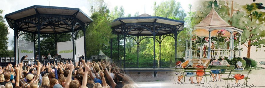 A triptiche of chance in original intend and actual usage of the musique kiosk/dome at the Amsterdam Oosterpark.
