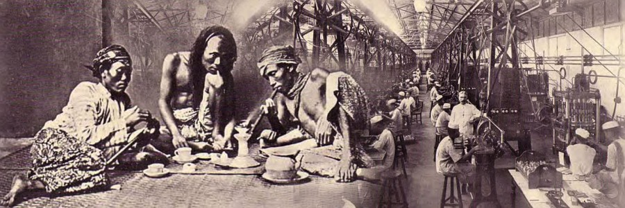 Natives smoking opium in Batavia (Djakarta) 1925 and a view of the Jl. Salemba opium factory in Batavia, 1925 with machines for mechanical filling of tubes with opium.